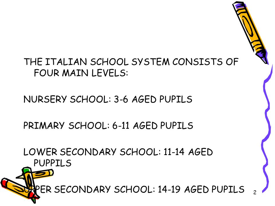 3 In Italy there are state school and state- recognized school or private school at each level of the education system.