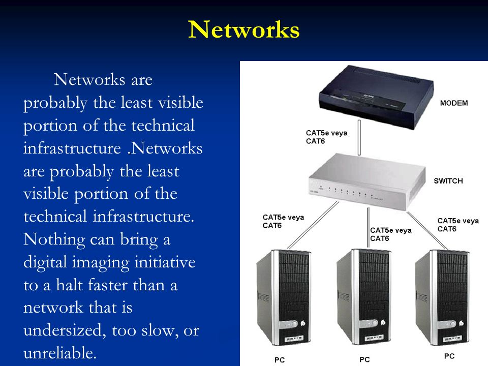 Networks. Networks are probably the least visible portion of the technical infrastructure.Networks are probably the least visible portion of the techn