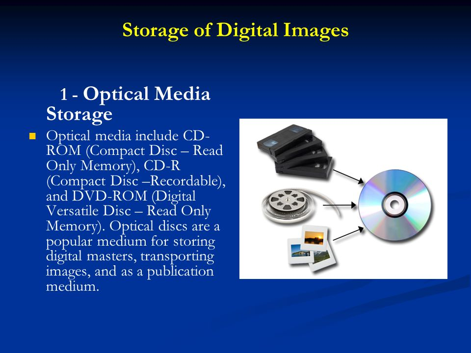 Storage of Digital Images 1 - Optical Media Storage Optical media include CD- ROM (Compact Disc – Read Only Memory), CD-R (Compact Disc –Recordable),