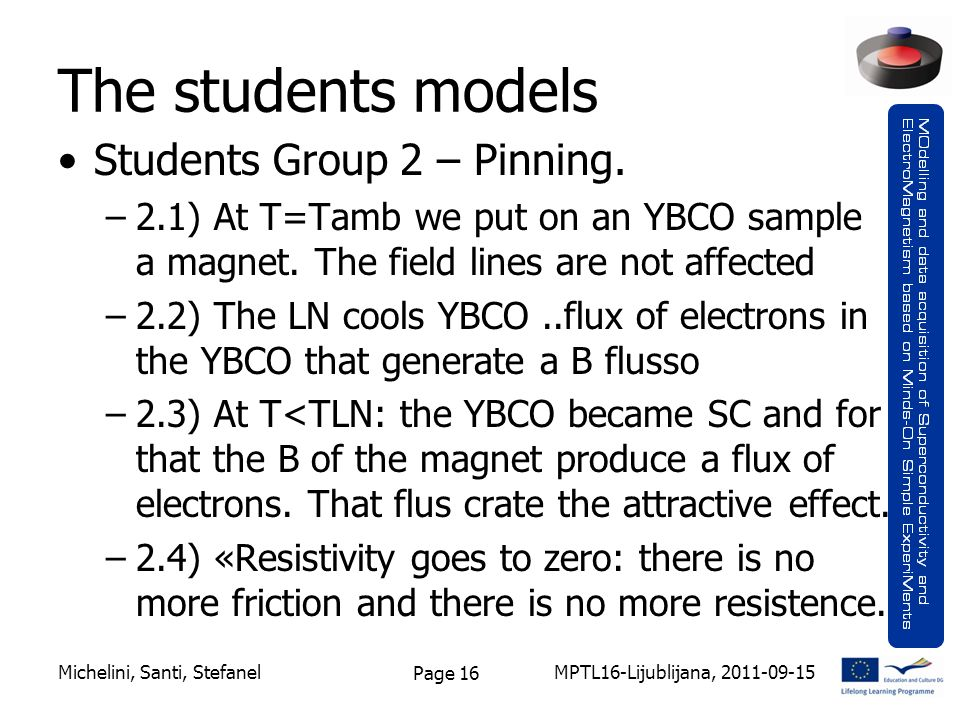 Page 16 The students models Students Group 2 – Pinning.