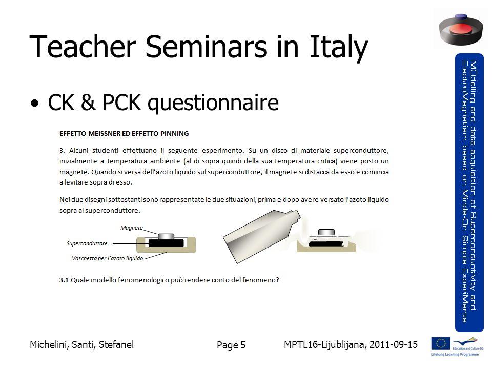 Page 5 Teacher Seminars in Italy CK & PCK questionnaire MPTL16-Lijublijana, 2011-09-15Michelini, Santi, Stefanel