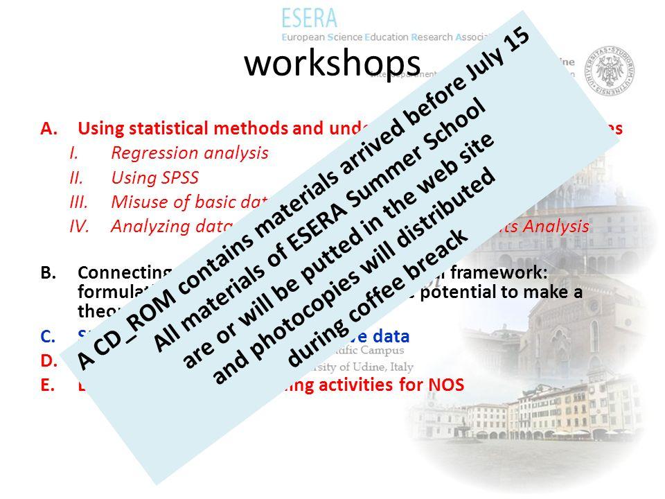 workshops A.Using statistical methods and understanding quantitative studies I.Regression analysis II.Using SPSS III.Misuse of basic data IV.Analyzing