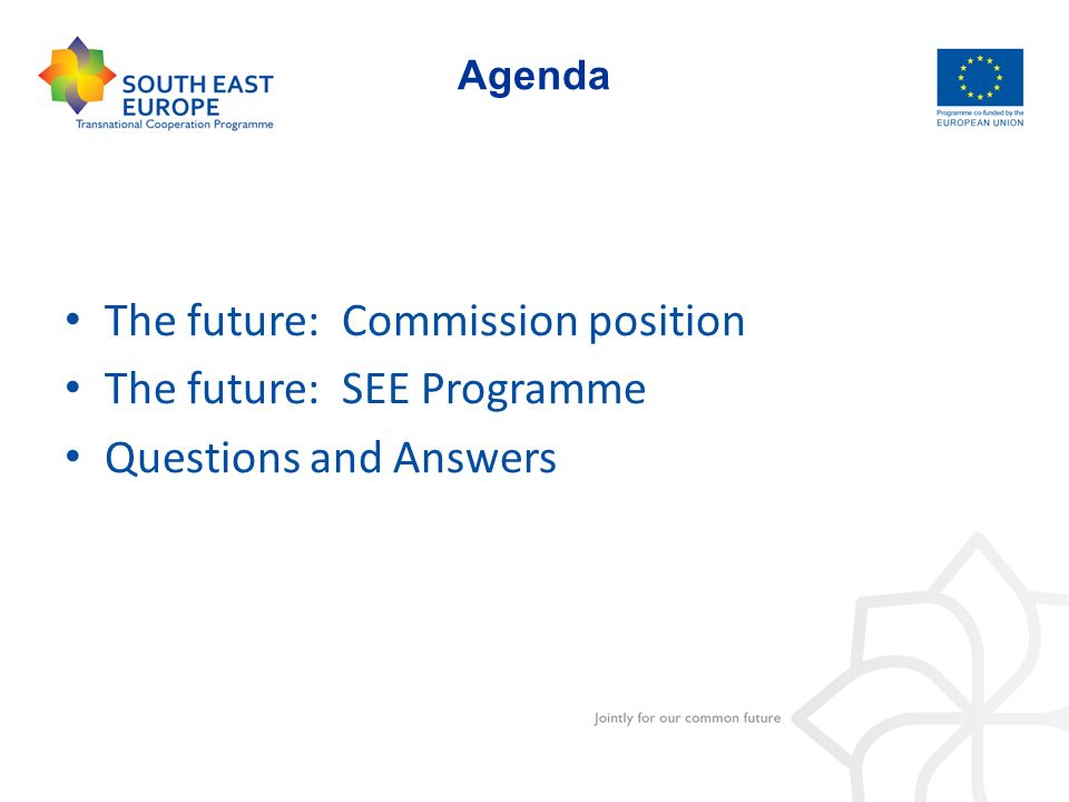 Agenda The future: Commission position The future: SEE Programme Questions and Answers
