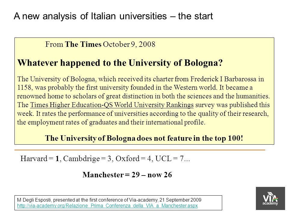 A new analysis of Italian universities – the start From The Times October 9, 2008 Whatever happened to the University of Bologna.