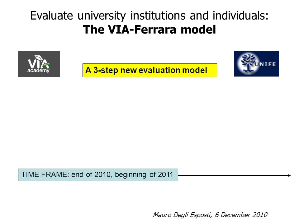 Evaluate university institutions and individuals: The VIA-Ferrara model A 3-step new evaluation model Mauro Degli Esposti, 6 December 2010 TIME FRAME: end of 2010, beginning of 2011