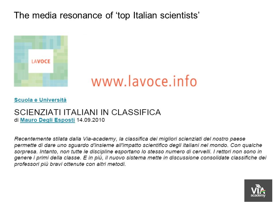 The media resonance of top Italian scientists