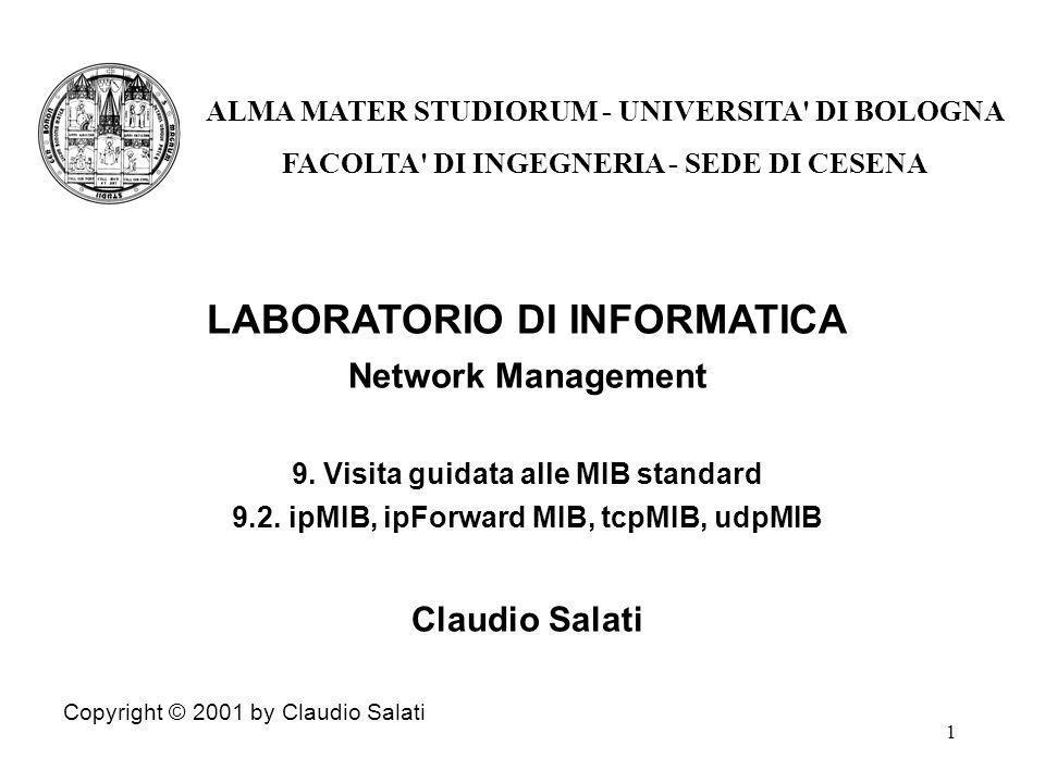 1 LABORATORIO DI INFORMATICA Network Management 9.