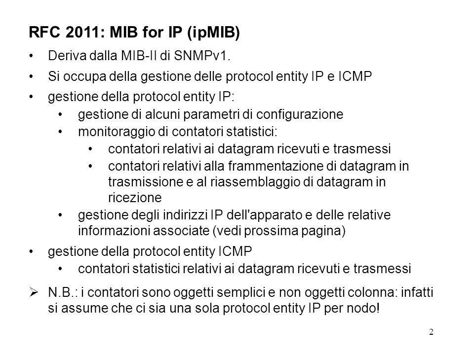 13 RFC 2011: ipMIB - ipGroup, contatori relativi ai datagram trasmessi ipOutRequests OBJECT-TYPE SYNTAX Counter32 MAX-ACCESS read-only STATUS current DESCRIPTION The total number of IP datagrams which local IP user-protocols (including ICMP) supplied to IP in requests for transmission.
