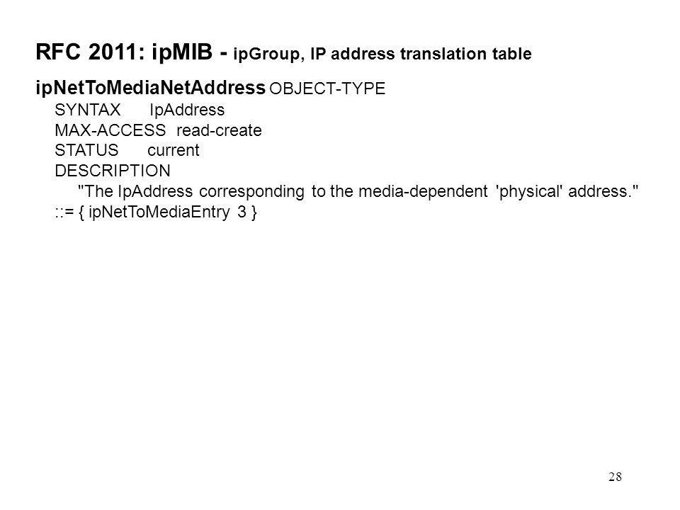 28 RFC 2011: ipMIB - ipGroup, IP address translation table ipNetToMediaNetAddress OBJECT-TYPE SYNTAX IpAddress MAX-ACCESS read-create STATUS current D