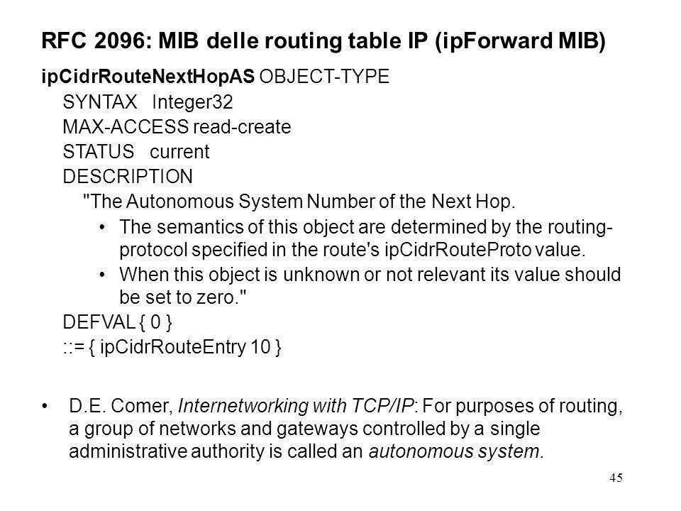45 RFC 2096: MIB delle routing table IP (ipForward MIB) ipCidrRouteNextHopAS OBJECT-TYPE SYNTAX Integer32 MAX-ACCESS read-create STATUS current DESCRIPTION The Autonomous System Number of the Next Hop.