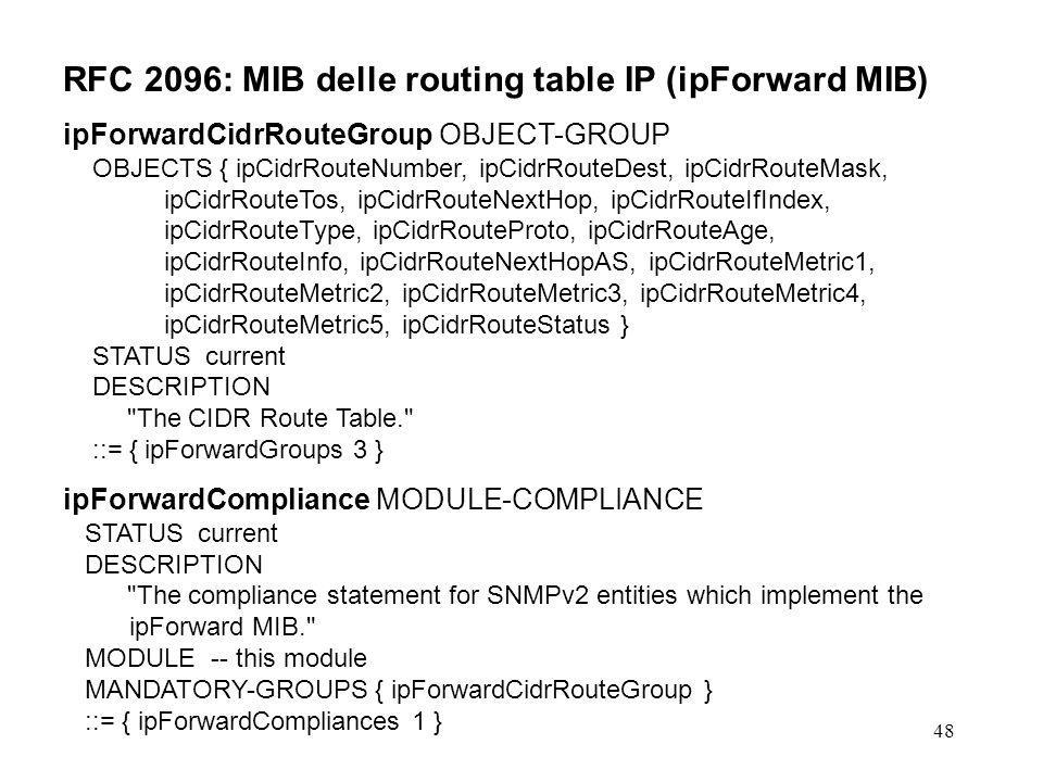 48 RFC 2096: MIB delle routing table IP (ipForward MIB) ipForwardCidrRouteGroup OBJECT-GROUP OBJECTS { ipCidrRouteNumber, ipCidrRouteDest, ipCidrRoute