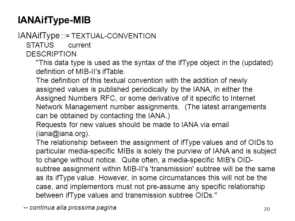 30 IANAifType-MIB IANAifType ::= TEXTUAL-CONVENTION STATUS current DESCRIPTION This data type is used as the syntax of the ifType object in the (updated) definition of MIB-II s ifTable.