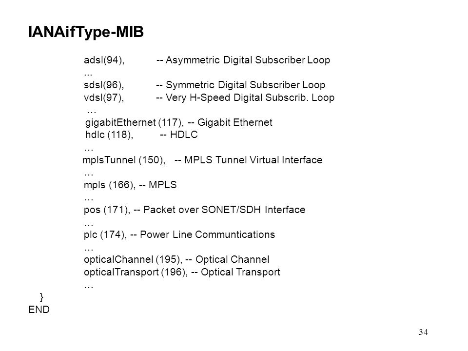 34 IANAifType-MIB adsl(94), -- Asymmetric Digital Subscriber Loop... sdsl(96), -- Symmetric Digital Subscriber Loop vdsl(97), -- Very H-Speed Digital