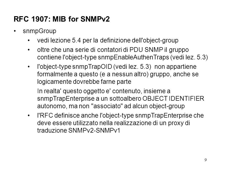 9 RFC 1907: MIB for SNMPv2 snmpGroup vedi lezione 5.4 per la definizione dell object-group oltre che una serie di contatori di PDU SNMP il gruppo contiene l object-type snmpEnableAuthenTraps (vedi lez.