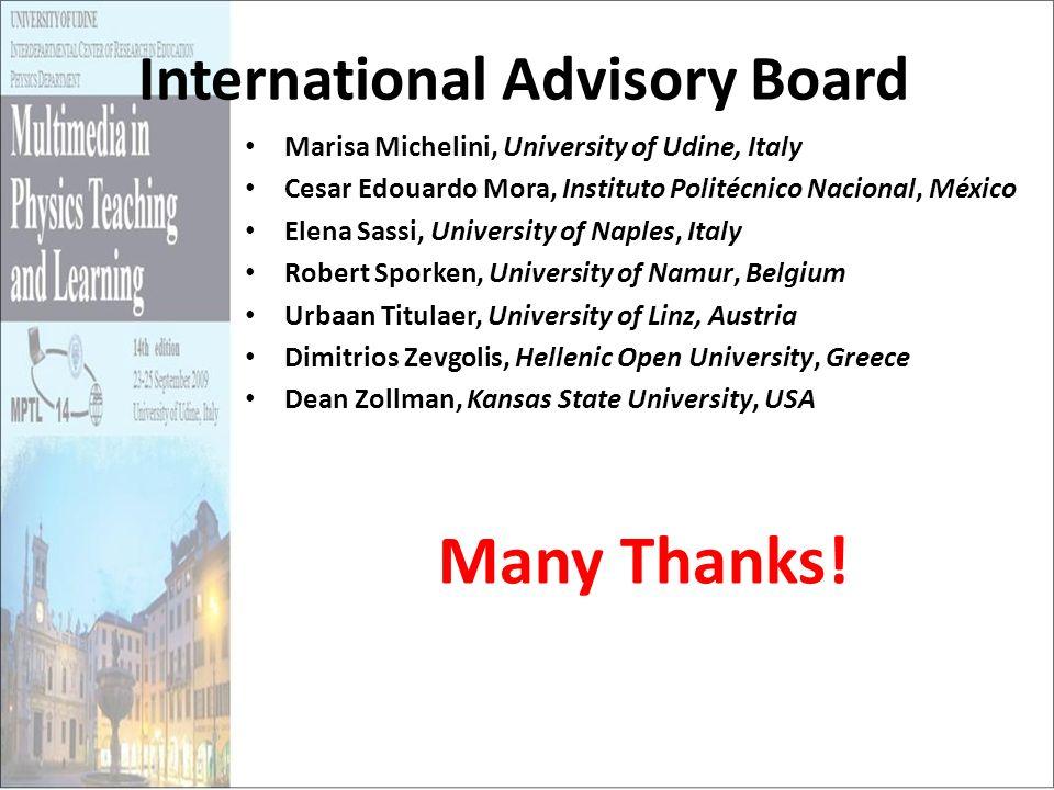 International Advisory Board Marisa Michelini, University of Udine, Italy Cesar Edouardo Mora, Instituto Politécnico Nacional, México Elena Sassi, Uni