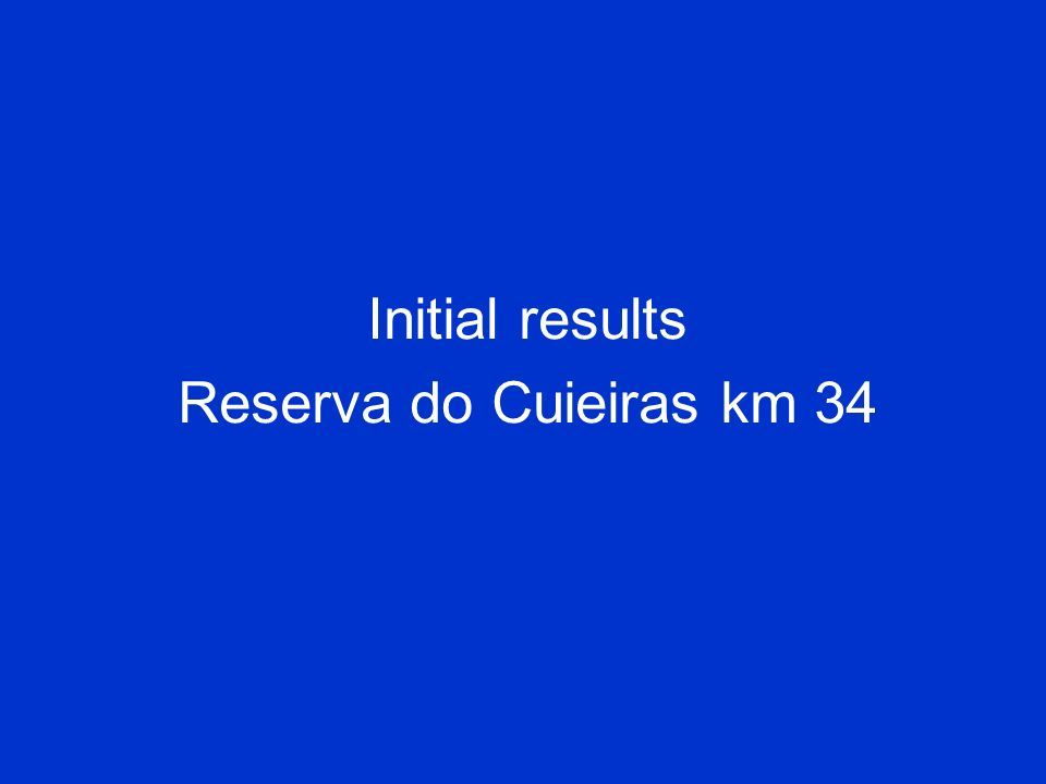 Initial results Reserva do Cuieiras km 34