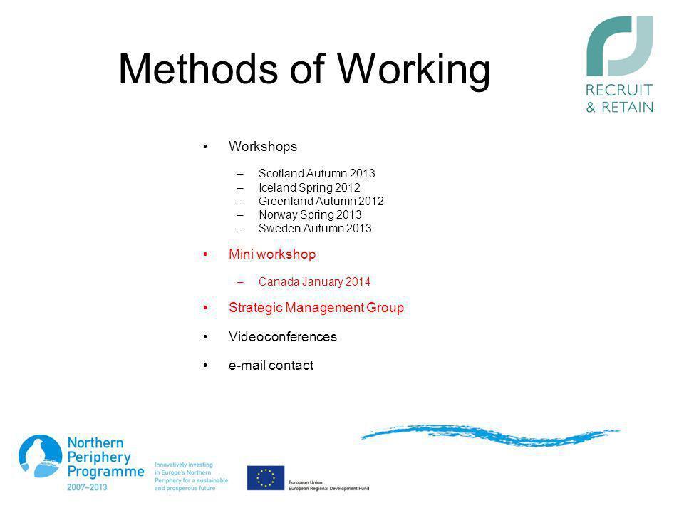 Methods of Working Workshops –Scotland Autumn 2013 –Iceland Spring 2012 –Greenland Autumn 2012 –Norway Spring 2013 –Sweden Autumn 2013 Mini workshop –