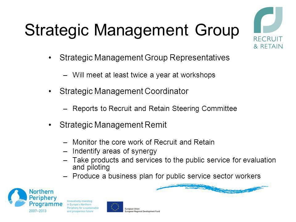 Strategic Management Group Strategic Management Group Representatives –Will meet at least twice a year at workshops Strategic Management Coordinator –