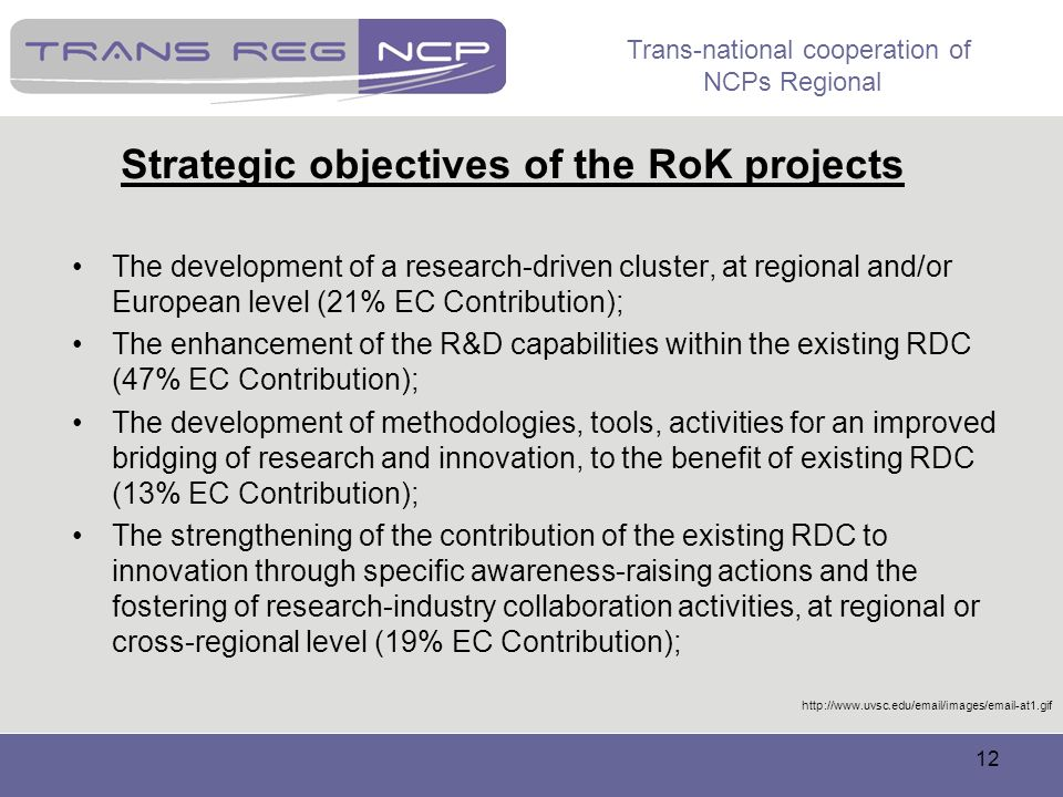 Trans-national cooperation of NCPs Regional 12 Strategic objectives of the RoK projects The development of a research-driven cluster, at regional and/