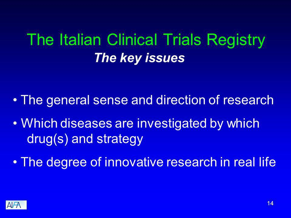14 The Italian Clinical Trials Registry The general sense and direction of research Which diseases are investigated by which drug(s) and strategy The degree of innovative research in real life The key issues