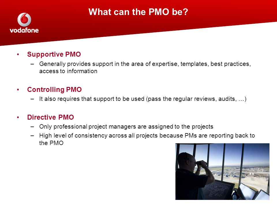Supportive PMO –Generally provides support in the area of expertise, templates, best practices, access to information Controlling PMO –It also require