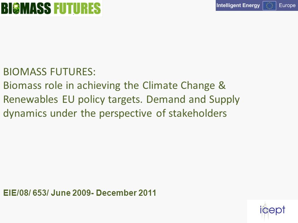 BIOMASS FUTURES: Biomass role in achieving the Climate Change & Renewables EU policy targets.