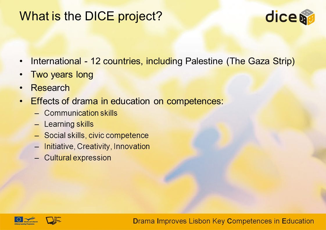What is the DICE project? International - 12 countries, including Palestine (The Gaza Strip) Two years long Research Effects of drama in education on