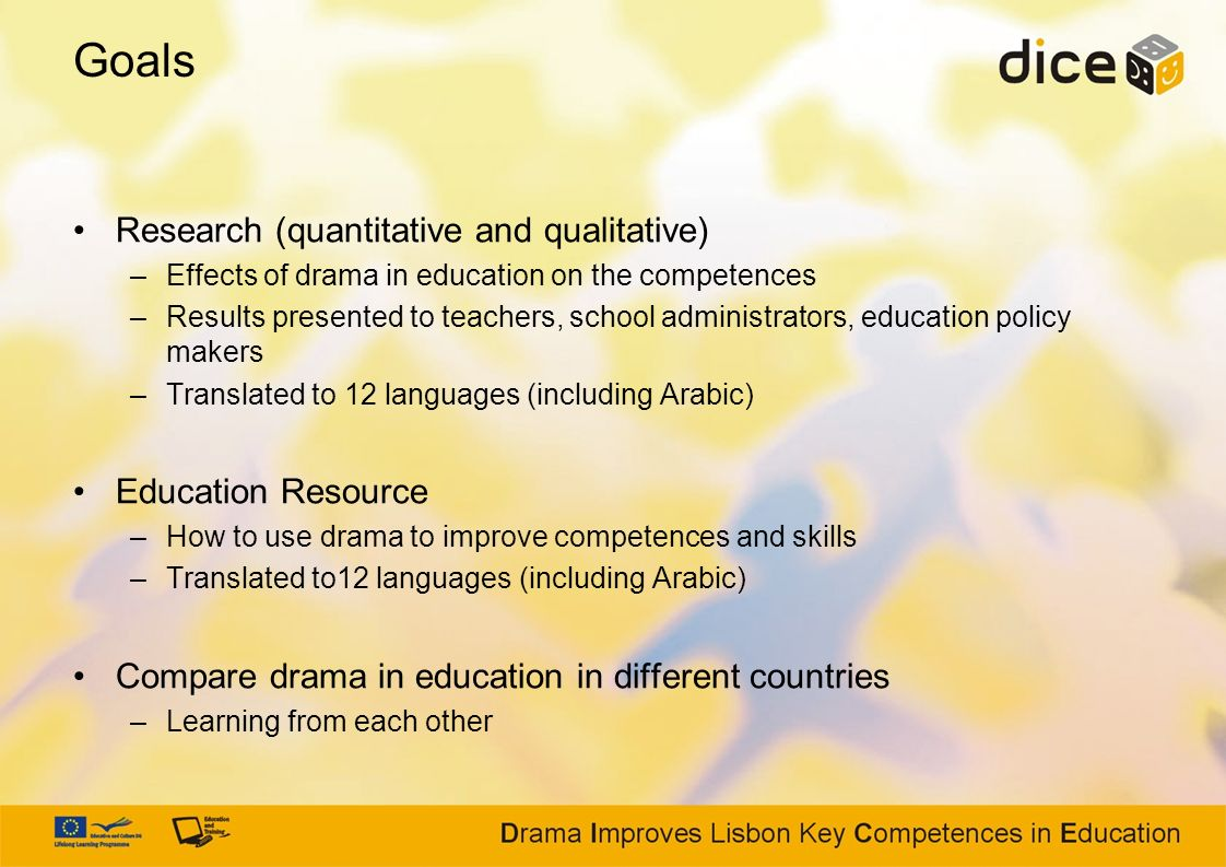 Goals Research (quantitative and qualitative) –Effects of drama in education on the competences –Results presented to teachers, school administrators,