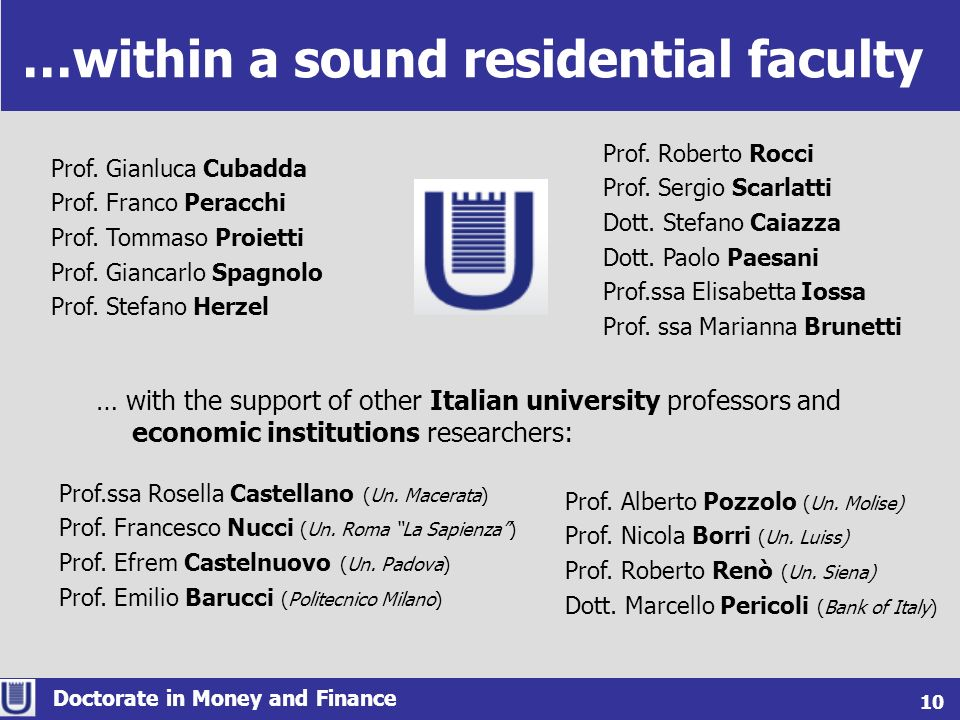 …within a sound residential faculty Doctorate in Money and Finance 6 10 Prof. Roberto Rocci Prof. Sergio Scarlatti Dott. Stefano Caiazza Dott. Paolo P