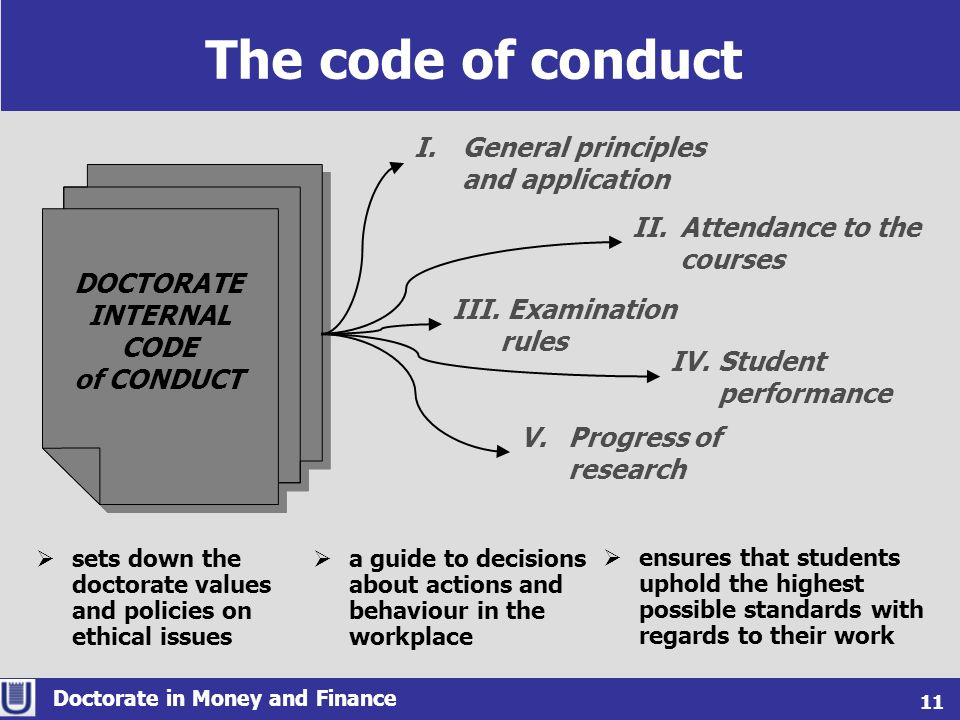 The code of conduct Doctorate in Money and Finance 11 DOCTORATE INTERNAL CODE of CONDUCT DOCTORATE INTERNAL CODE of CONDUCT sets down the doctorate va