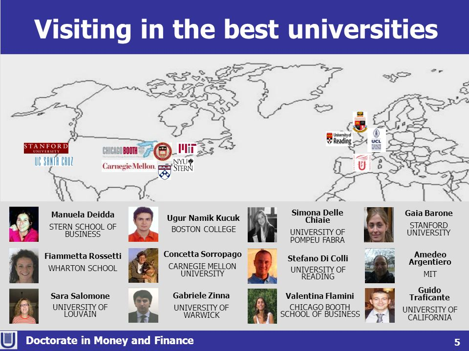 Visiting in the best universities Doctorate in Money and Finance 5 Fiammetta Rossetti WHARTON SCHOOL Guido Traficante UNIVERSITY OF CALIFORNIA Simona