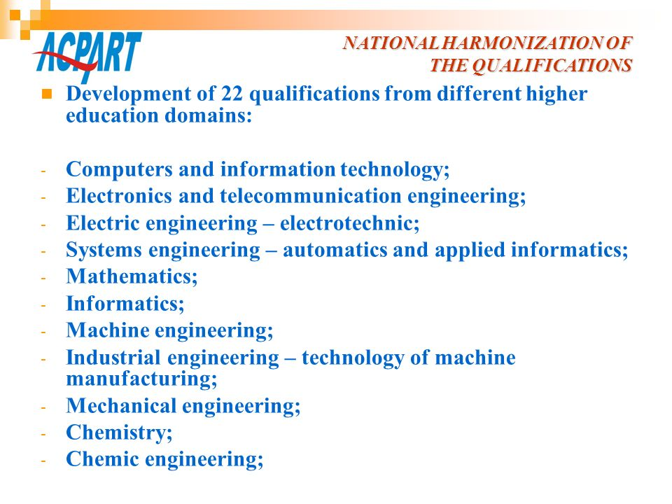 Development of 22 qualifications from different higher education domains: - Computers and information technology; - Electronics and telecommunication