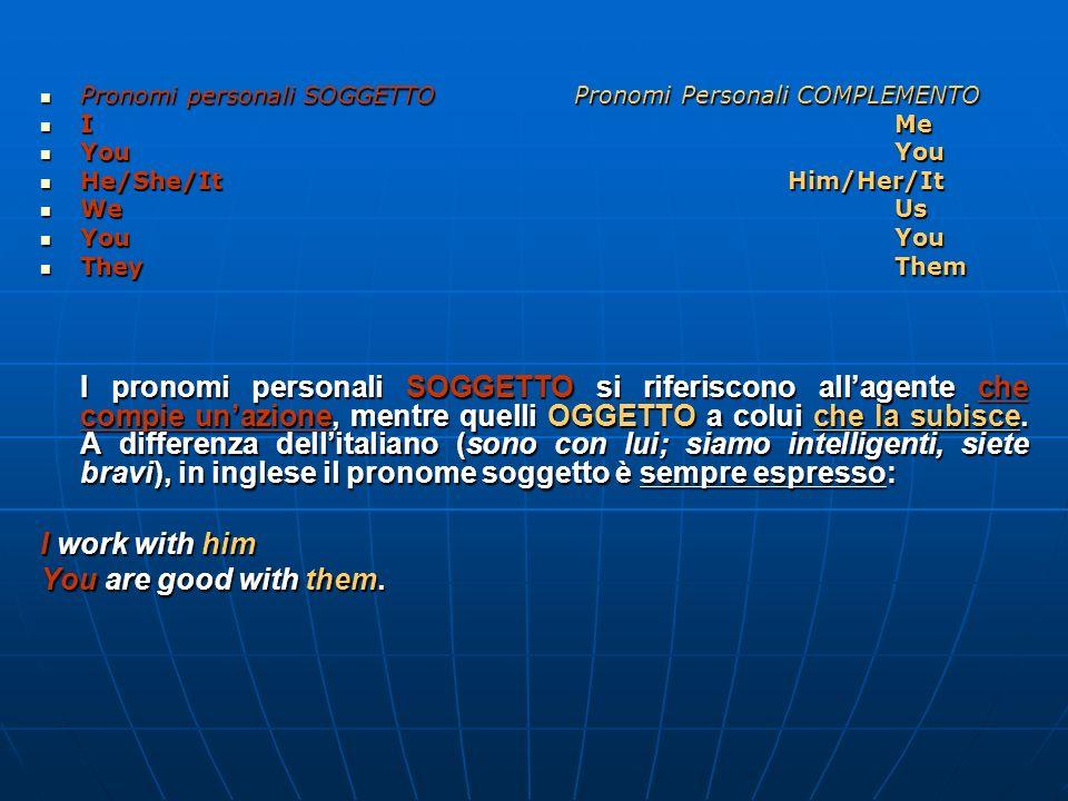 Pronomi personali SOGGETTOPronomi Personali COMPLEMENTO Pronomi personali SOGGETTOPronomi Personali COMPLEMENTO IMe IMe YouYou YouYou He/She/ItHim/Her/It He/She/ItHim/Her/It WeUs WeUs YouYou YouYou TheyThem TheyThem I pronomi personali SOGGETTO si riferiscono allagente che compie unazione, mentre quelli OGGETTO a colui che la subisce.