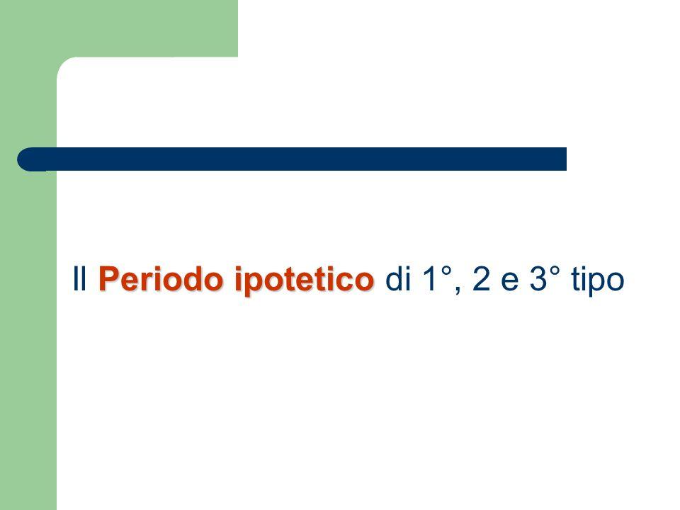 Periodo ipotetico Il Periodo ipotetico di 1°, 2 e 3° tipo