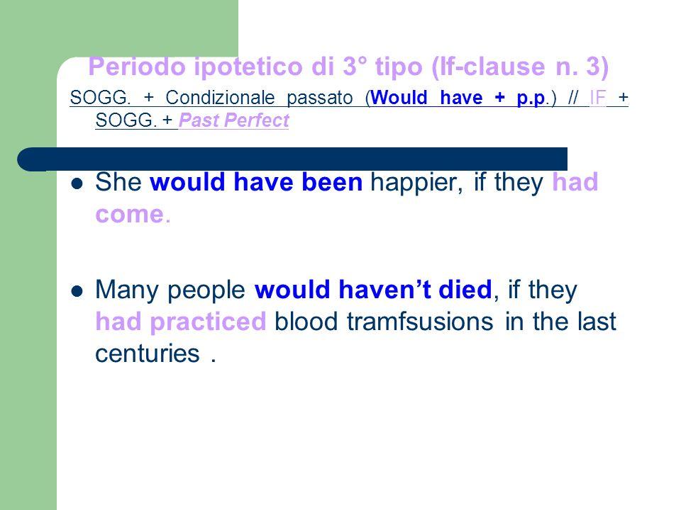 Periodo ipotetico di 3° tipo (If-clause n. 3) SOGG.