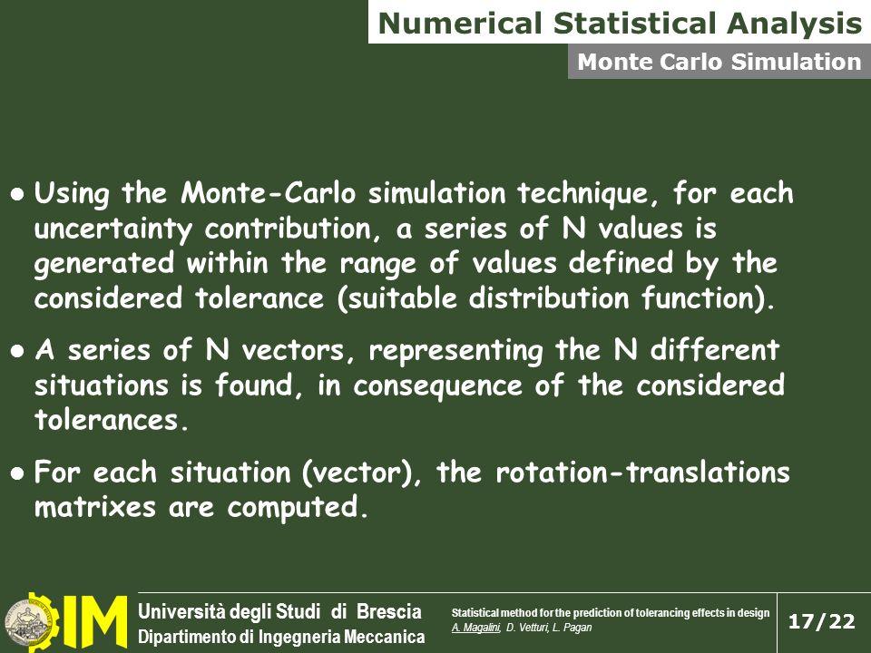 Università degli Studi di Brescia Dipartimento di Ingegneria Meccanica 17/22 Using the Monte-Carlo simulation technique, for each uncertainty contribu