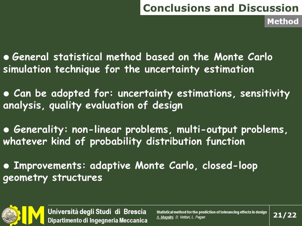 Università degli Studi di Brescia Dipartimento di Ingegneria Meccanica 21/22 General statistical method based on the Monte Carlo simulation technique