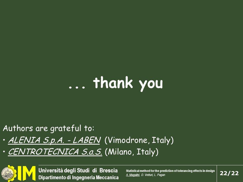 Università degli Studi di Brescia Dipartimento di Ingegneria Meccanica 22/22... thank you Authors are grateful to: ALENIA S.p.A. - LABEN (Vimodrone, I