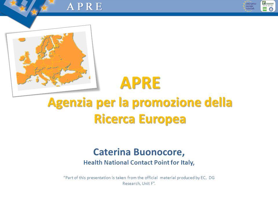 APRE Agenzia per la promozione della Ricerca Europea Caterina Buonocore, Health National Contact Point for Italy, Part of this presentation is taken f