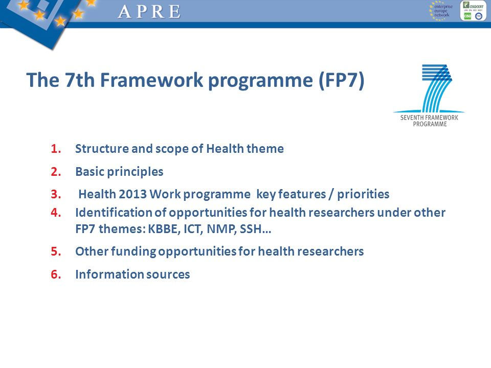 The 7th Framework programme (FP7) 1.Structure and scope of Health theme 2.Basic principles 3. Health 2013 Work programme key features / priorities 4.I