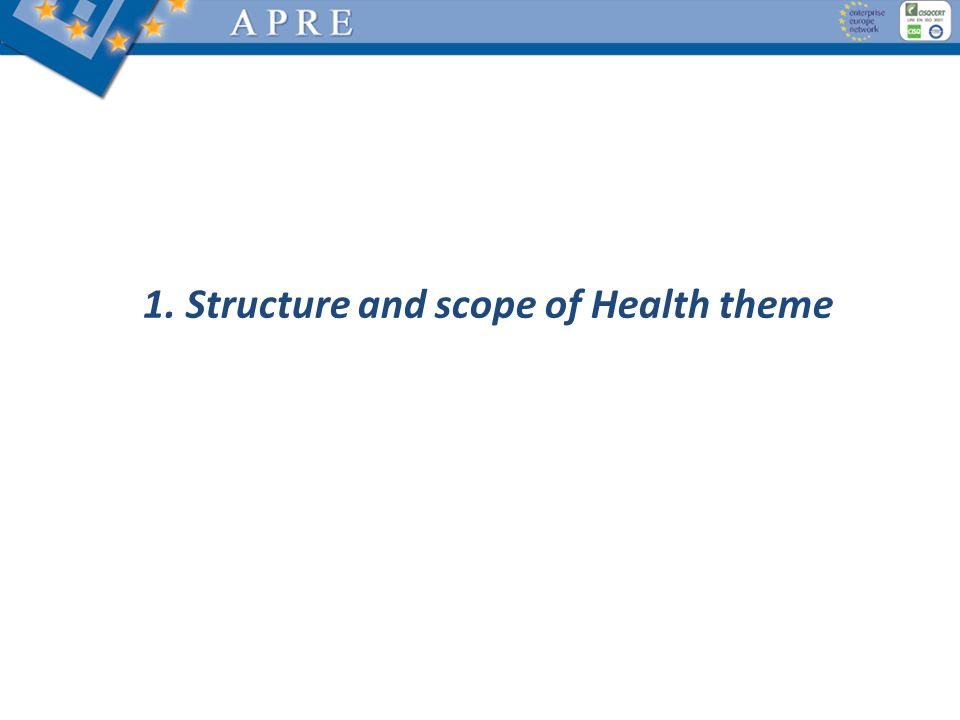 1. Structure and scope of Health theme