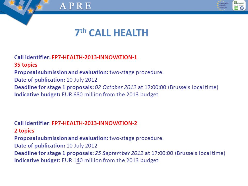 Call identifier: FP7-HEALTH-2013-INNOVATION-1 35 topics Proposal submission and evaluation: two-stage procedure. Date of publication: 10 July 2012 Dea
