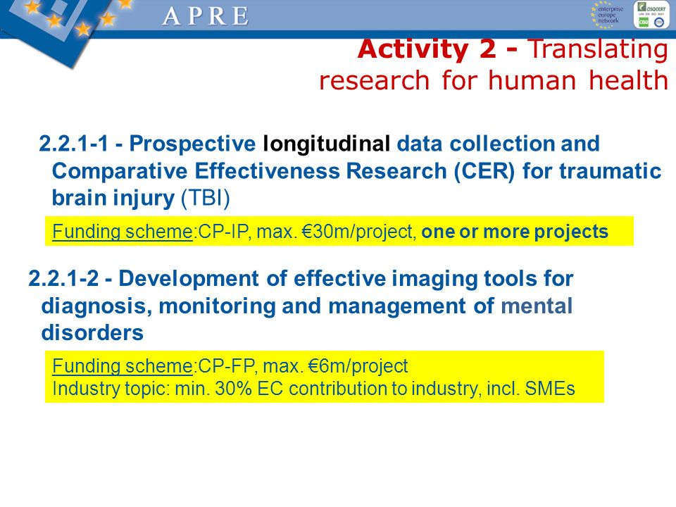 Activity 2 - Translating research for human health 2.2.1-1 - Prospective longitudinal data collection and Comparative Effectiveness Research (CER) for