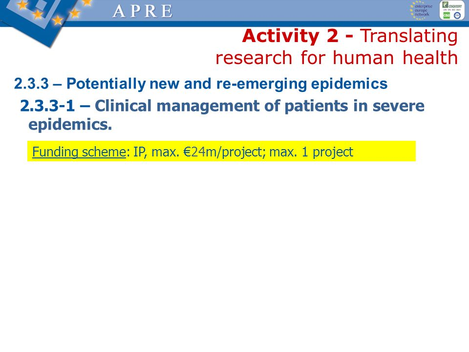 Activity 2 - Translating research for human health 2.3.3 – Potentially new and re-emerging epidemics 2.3.3-1 – Clinical management of patients in seve