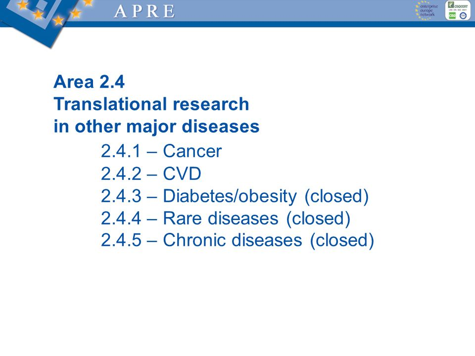 Area 2.4 Translational research in other major diseases 2.4.1 – Cancer 2.4.2 – CVD 2.4.3 – Diabetes/obesity (closed) 2.4.4 – Rare diseases (closed) 2.