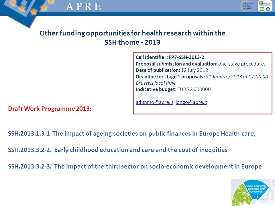 Other funding opportunities for health research within the SSH theme - 2013 Draft Work Programme 2013: SSH.2013.1.3-1 The impact of ageing societies o
