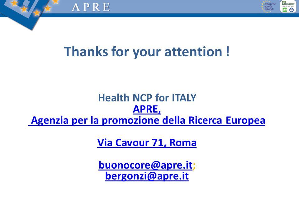 Thanks for your attention ! Health NCP for ITALY APRE, Agenzia per la promozione della Ricerca Europea Via Cavour 71, Roma buonocore@apre.itbuonocore@
