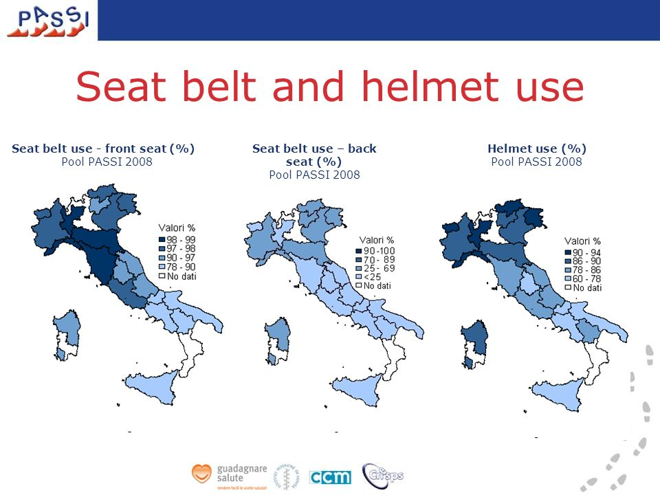 Seat belt and helmet use Seat belt use – back seat (%) Pool PASSI 2008 Seat belt use - front seat (%) Pool PASSI 2008 Helmet use (%) Pool PASSI 2008