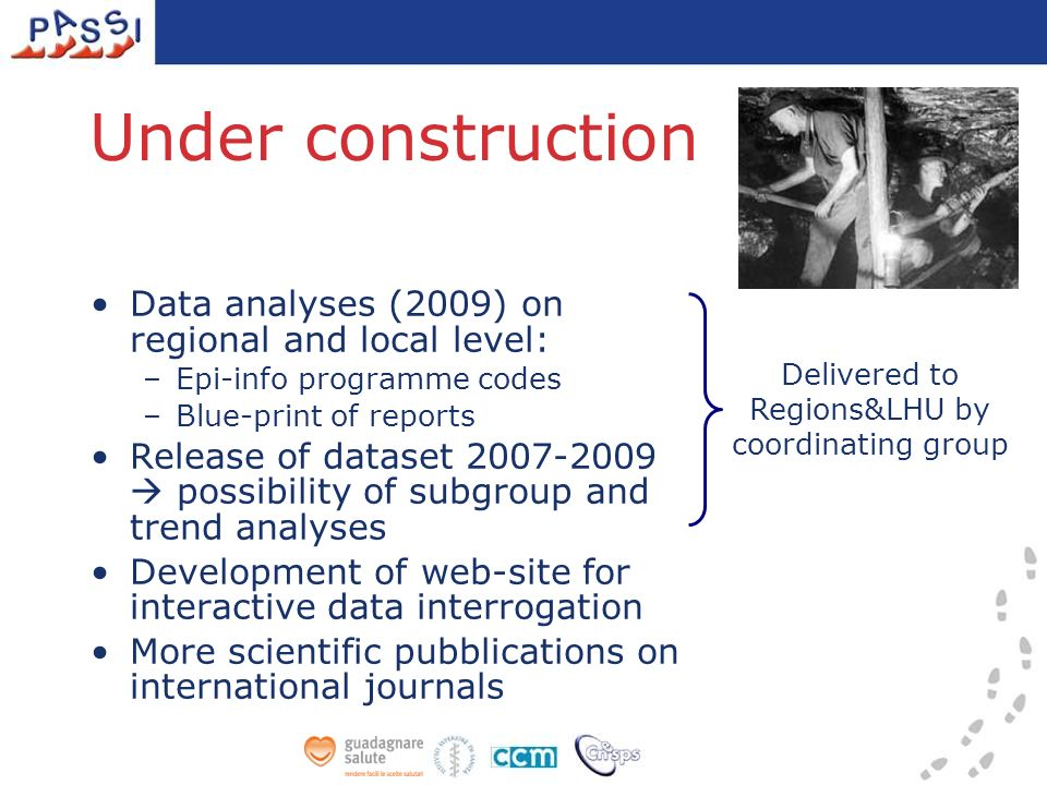 Under construction Data analyses (2009) on regional and local level: –Epi-info programme codes –Blue-print of reports Release of dataset 2007-2009 pos