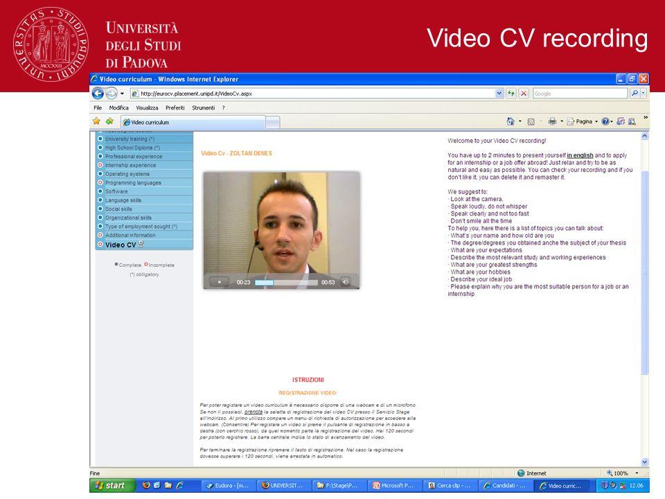 Video CV recording